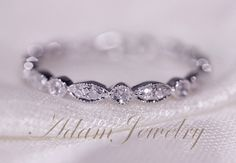 Art Deco Full Eternity Band 14K White Gold Wedding Ring Pave Diamonds Wedding Ring/ Promise Ring/ Engagement Ring/ Matching Band by AdamJewelry on Etsy https://www.etsy.com/listing/180962615/art-deco-full-eternity-band-14k-white