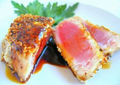 Ahi Tuna with Sesame Crust and Honey Ginger Soy Sauce: Joe loves Ahi Tuna and it finally went on sale at Publix. I'm not a huge fan, but I think it turned out really well! Joe said it cooked perfectly and the sauce was delicious! Fresh Tuna Recipes, Tuna Steak Recipes, Fish Recipes, Seafood Recipes, Cooking Recipes, Recipies, Cooking Fish, Ahi Tuna Sauce, Ahi Tuna Recipe