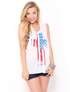 American #Flag Muscle Tank