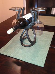 Horseshoe Wine Rack. Single Wine Bottle That Holds 2 Wine Glasses