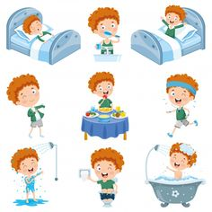 Daily routine activities for kids with cute girl Vector Image Kids Routine Chart, Daily Routine Activities, Activities For Kids, Hand Washing Poster, Funny Cartoon Characters, Morning Cartoon, Kids Events, Preschool Crafts, Illustration