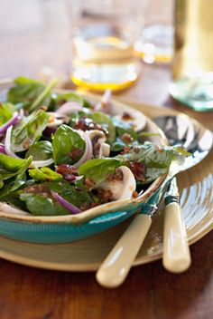 Spinach Salad with Warm Bacon Dressing — Jamie and Bobby Deen — Recipes, Blogs, Podcast and Videos