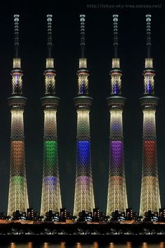 Various lightings of Tokyo Skytree  [Love this- I live about 20 minutes away from Skytree & love seeing the different lights when walking home at night]