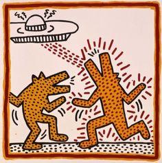 Keith Haring, Untitled, 1982. Baked enamel on metal. Private collection. Keith Haring artwork © Keith Haring Foundation