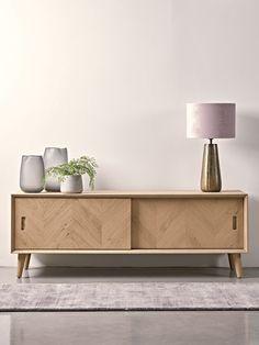 Chevron Oak Media Unit - Modern Home Furniture Light Oak Furniture, Chevron Furniture, Sideboard Furniture, Modern Home Furniture, Scandinavian Furniture, Living Furniture, Furniture Storage, Oak Sideboard, Sideboard Ideas