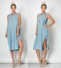 BLUE SLEEVELESS ROUND NECK BANDEAU Maxi Dress