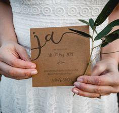 Hochzeitsinspiration Red Velvet, Save-the-Date-Karte auf Kraftpapier | marygoesround.de