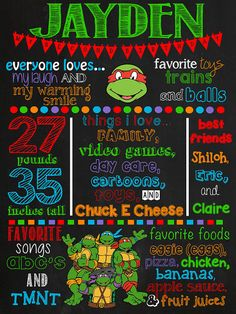 Ninja Turtles Chalkboard Poster by VickiTsCreations on Etsy