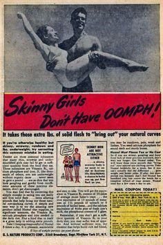 """Vintage Weight Gain Ads II, 1908-1984  """"Don't let them call you skinny!"""""""