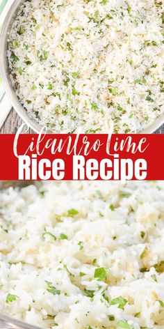 Cilantro Lime Rice Recipe is an easy side dish to make! Cilantro Lime Rice is sooo delicious to go with your favorite Mexican Food Recipes! It's a great copy cat of Chipotle! A favorite rice side dish. Rice Recipes, Side Dish Recipes, Mexican Food Recipes, Vegetarian Recipes, Cooking Recipes, Dinner Recipes, Risotto Recipes, Copycat Recipes, Recipes