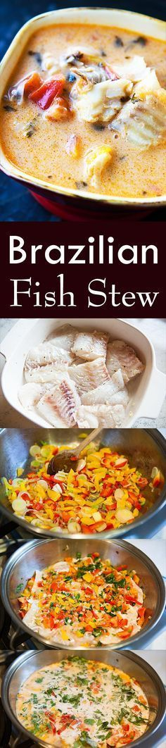 Moqueca – Brazilian Fish Stew ~ Brazilian moqueca, a fish stew made with firm white fish, onions, garlic, bell peppers, tomatoes, cilantro, and coconut milk. ~ SimplyRecipes.com