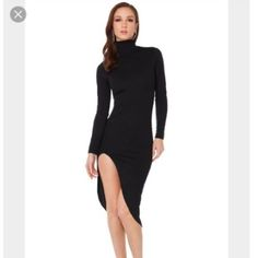 e303a484a3d42 A little black dress with more than a little impact. AKIRA's Turning Heads  Midi Dress in Black features a turtleneck, long sleeves, front slit, ...