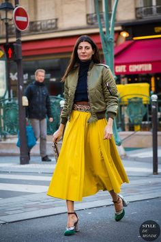 olive jacket, yellow skirt @roressclothes closet ideas #women fashion outfit #clothing style apparel