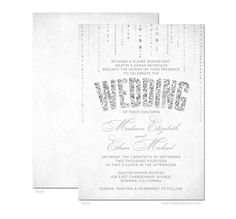 Glitter Look Wedding Invitations  DIY Printable by TheSpottedOlive, $29.95