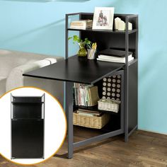 btm compact computer desk 4 display storage shelves with hideaway folding study laptop desk table home black home office laptop desk furniture