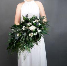 c1ffd994040 Woodland boho wedding cascading bridal bouquet in green and white Bukiet  Ślubny