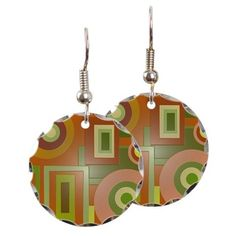 Mod yellow green shapes earings #cafepress #jewelry #earings #fashion