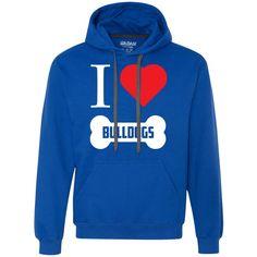 Bulldog - I LOVE MY BULLDOG (BONE DESIGN) - Heavyweight Pullover Fleece Sweatshirt