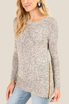 2f63fdd82cd36 Gia Side Zip Sweater - Heather Gray Zip Sweater