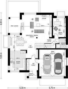 Projekt domu Sydney 267,35 m2 - koszt budowy - EXTRADOM Modern House Plans, House Floor Plans, House Layouts, Planer, Villa, New Homes, Facade, Construction, House Design