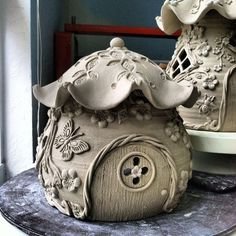 Butterfly Flower House #pottery #ceramic #ceramicpottery I would like a cookie jar version of this