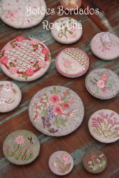Botões bordados - Rosa Chá - Lilian Schnepper