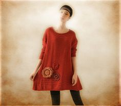 Casual Red Loose Top / Long sleeved Asymmetric di camelliatune, $74.00