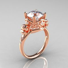 Modern Vintage 14K Rose Gold 2.5 Carat White Sapphire Diamond Wedding, Engagement Ring R167-14KRGDWS from artmasters via etsy.com