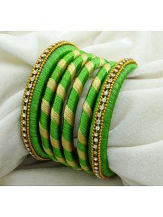 Beautiful Silk Thread Wrapped Churi Bangle Indian Women New Fashion Jewelry 2*10