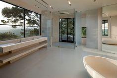 Bathroom in Stone Cream. Hoag Canyon Los Angeles.