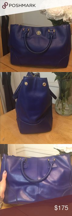 ✨AUTHENTIC Tory Burch Double Zip tote✨ Authentic Tory Burch double zip tote. Include chain strap. Purchased new, but has been worn. Tiny marks mostly near the bottom corners. Leather is not as stiff because it has been worn in. Inside has slight wearing, but no holes, big stains or markings. Really beautiful royal blue color. Really spacious. Great for travel and everyday life. I always got compliments on it! Tory Burch Bags Totes