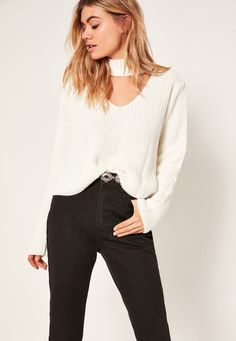 Missguided - Choker Neck Chunky Cropped Jumper White