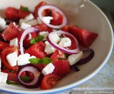 Simple 5-2 Diet Friendly Salads - Feta, Watermelon and tomato