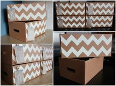 Reuse orange boxes from Costco for storage
