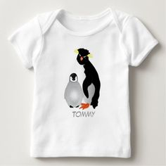 Monogrammed Mommy & Grey Baby Penguin Baby T-Shirt