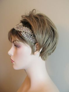 Lace Stretch Headband Headwrap Crystals Sequence by Lacywork, $9.99