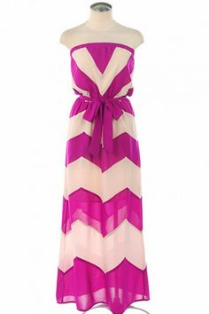 Magenta chevron maxi dress