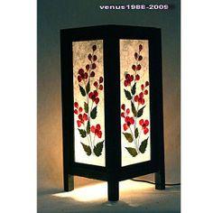 White bedside table lamp wood Flower TBM84