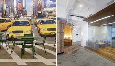 worldst cooles offices, Google in New York by HLW. verrassende ruimte waarin niet alles strak is weggewerkt, mooi gebruik van beeld en materiaal