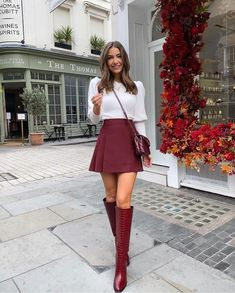 Cute Skirt Outfits, Preppy Outfits, Preppy Style, Cute Casual Outfits, Chic Outfits, Fall Fashion Colors, Winter Fashion Outfits, Look Fashion, Autumn Winter Fashion