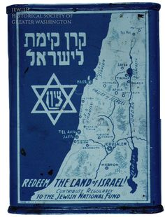 """By the early 1900s, members of Washington's Jewish community were working toward the dream of a Jewish homeland. Coins collected in these Jewish National Fund """"blue boxes"""" helped purchase land for Jewish settlement in Palestine."""