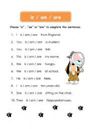 English worksheet: IS / AM / ARE worksheet