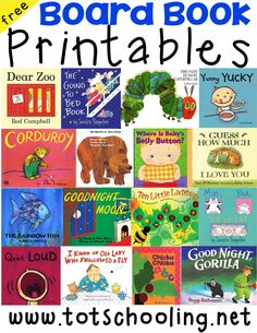 Free Board Book Printables for Toddlers. This is a series of printable matching and sorting activities, or file folder games, to go along with classic children's board books. Free for Totschooling subscribers.