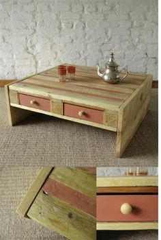 Pallet Table Plans 21 Ways Of Turning Pallets Into Unique Pieces Of Furniture - DIY pallet furniture using wood pallets that had been around for decades as mechanisms for shipping.Pallet furniture ideas from crafters around the World! Pallet Crates, Old Pallets, Wooden Pallets, Pallet Tables, Pallet Benches, Pallet Couch, Pallet Bar, Free Pallets, Salvaged Wood