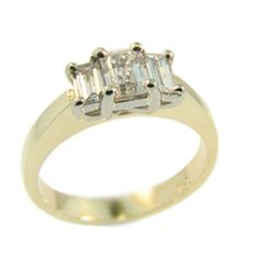 18ct Yellow and White Gold Emerald & Baguette Cut Diamond ring made at Cameron Jewellery