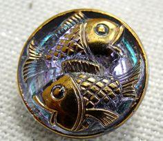 Czech Glass Fish Button Two Fish Aqua Blue by lookingglassbuttons, $4.00