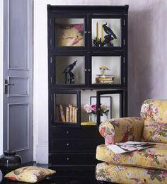 Boho noir bookcase.