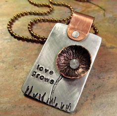 Hand Stamped Necklace - Copper Flower Pendant with Mixed Metals and Cold Connections - Love Grows. $29.00, via Etsy.