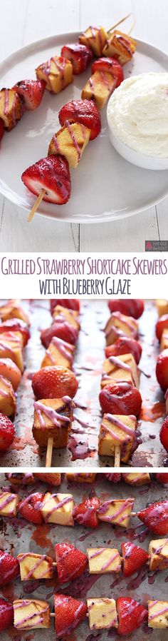 Grilled Strawberry Shortcake Skewers with Blueberry Glaze made with Mazola Corn Oil are the perfect Fourth of July Recipe! #partner