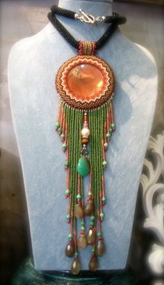 Indien Jasper pendant Beadwork Necklace. by ARTSTUDIO51 on Etsy